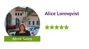 Alice Lonnqvist Zillow 5 star Real Estate Broker